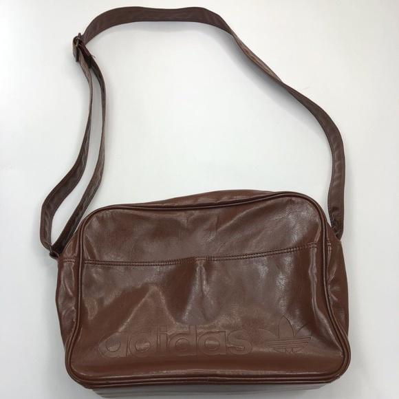 50c092ac81 adidas Handbags - ADIDAS Brown Pleather Messenger Bag Shoulder Bag